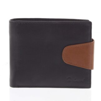 Pánská kožená peněženka černo hnědá - Delami 11816 černá