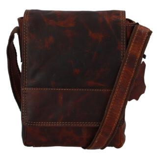 Kožená pánská crossbody taška na doklady koňaková 0213 koňak