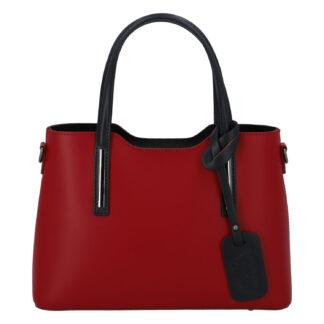 Menší kožená kabelka červeno černá - ItalY Alex červená