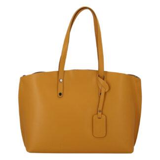 Dámská kožená kabelka hořčicová - ItalY Jordana Two žlutá