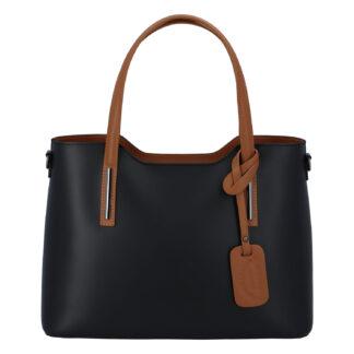 Větší kožená kabelka černo hnědá - ItalY Sandy černá
