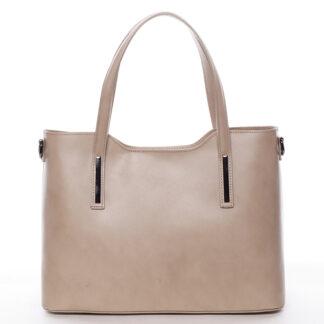 Menší kožená kabelka tmavě béžová - ItalY Alex krémová