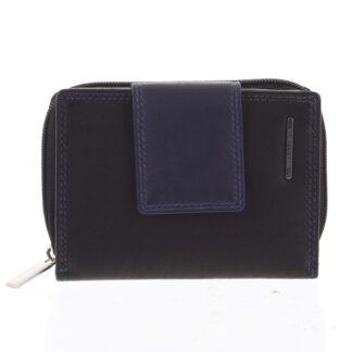 Dámská kožená peněženka černo modrá - Bellugio Eurusie černá
