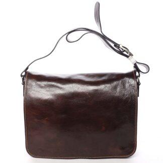 Větší pracovní kožená taška hnědá - ItalY Equado Achilles hnědá