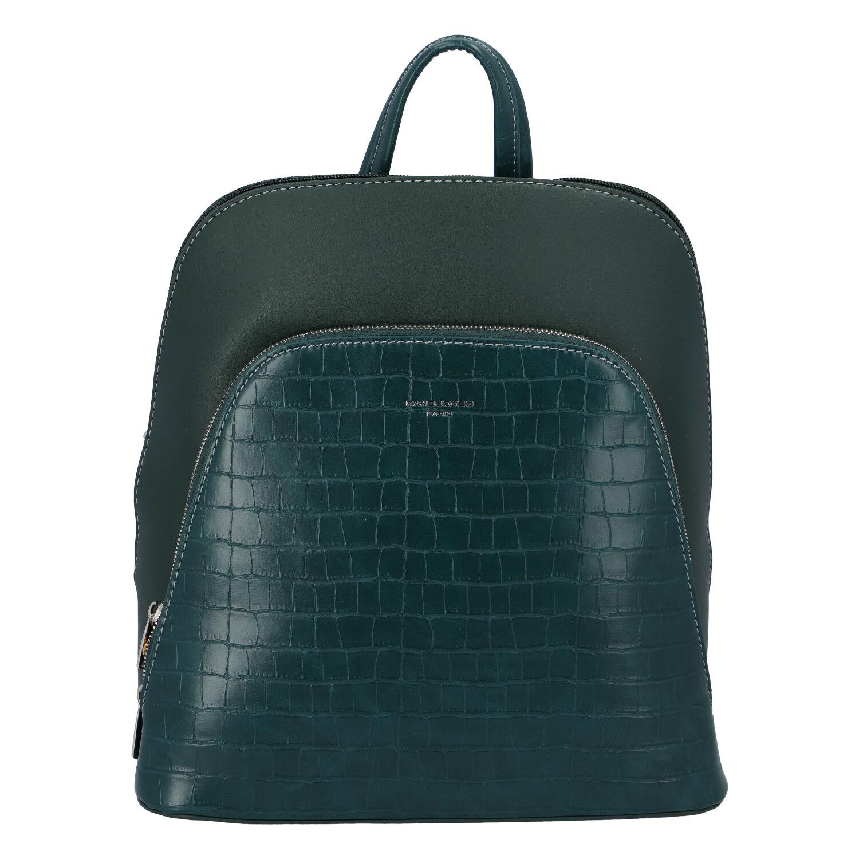 Dámský městský batoh tmavě zelený - David Jones Yordan Kroko zelená