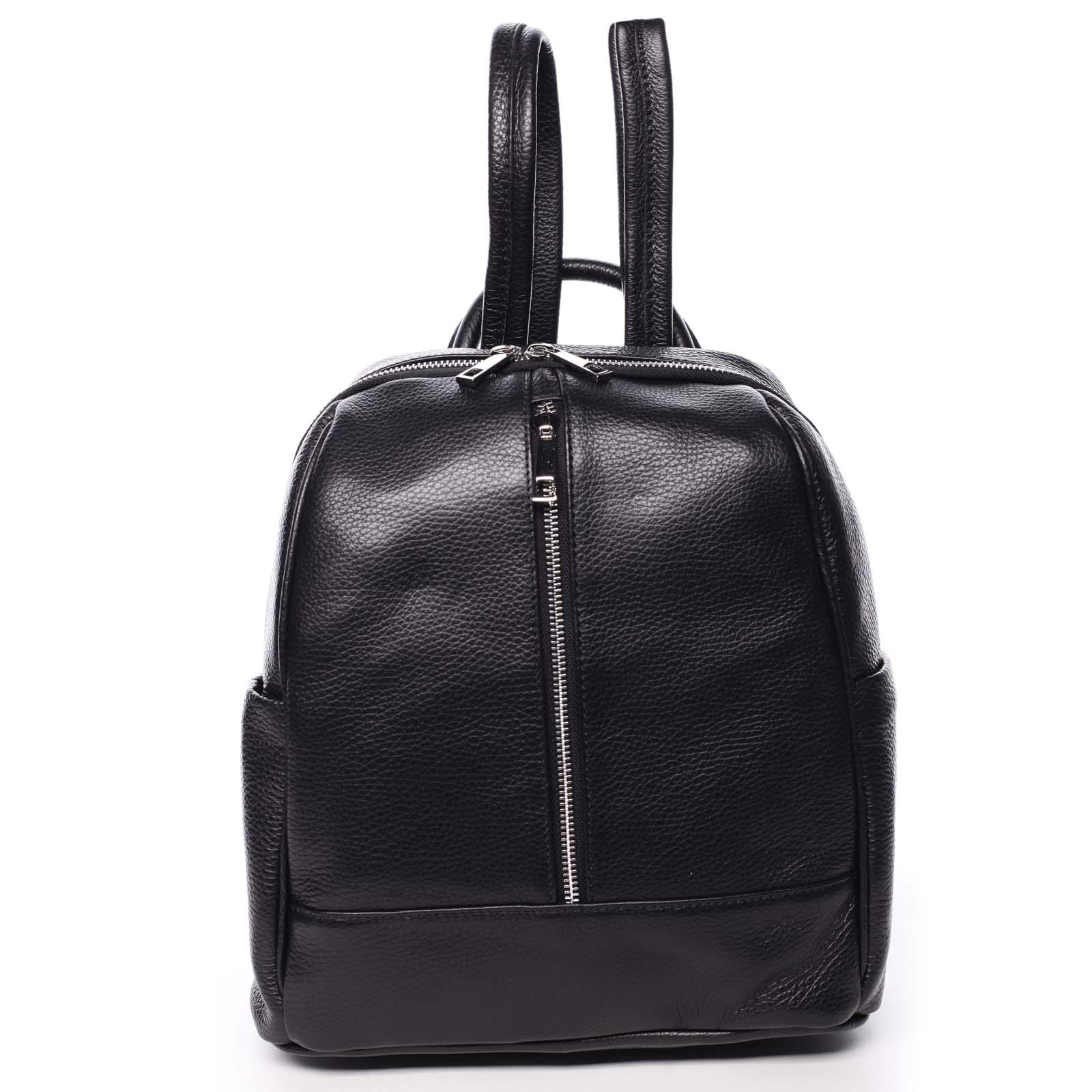 Dámský kožený batoh černý - ItalY Lissetta černá