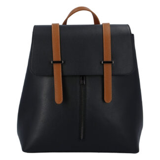 Dámský kožený batoh černo hnědý - ItalY Waterfall černá