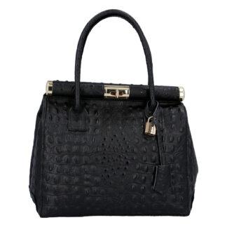 Luxusní dámská kožená kabelka do ruky černá - ItalY Hyla Kroko černá