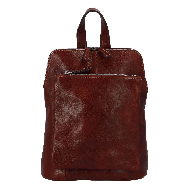 Dámský kožený batůžek kabelka hnědý - ItalY Englis hnědá