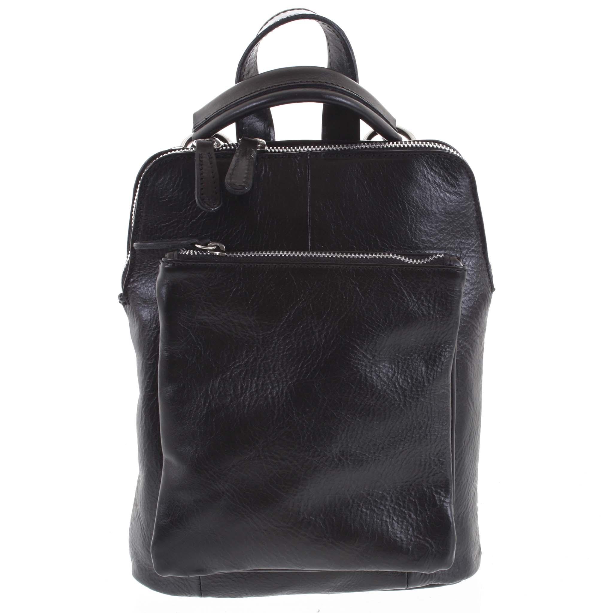Dámský kožený batůžek kabelka černý - ItalY Englis černá