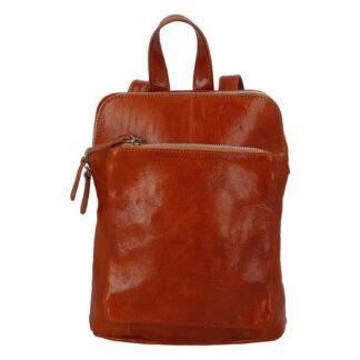 Dámský kožený batůžek kabelka koňakový - ItalY Englis koňak