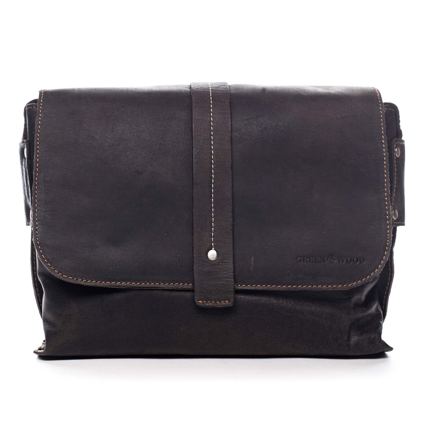 Pánská kožená taška tmavě hnědá - Greenwood Skillet hnědá