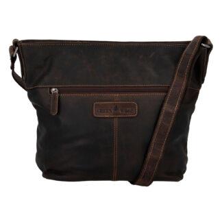 Dámská kožená kabelka přes rameno tmavě hnědá - Greenwood Fluxis hnědá