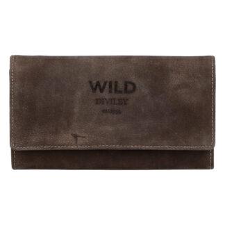 Dámská kožená peněženka tmavě hnědá - WILD Riga hnědá
