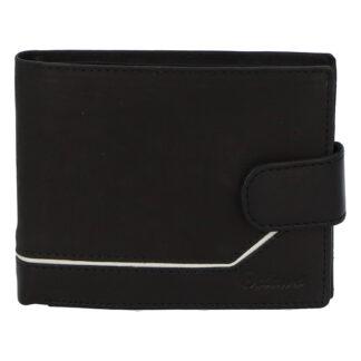 Pánská kožená peněženka černá - Delami Kabul černo/bílá
