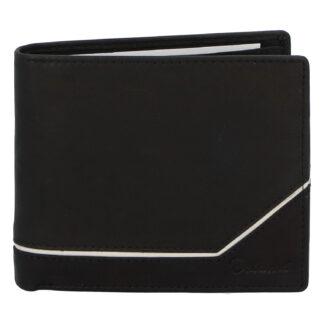 Pánská kožená peněženka černá - Delami Tirasen černo/bílá