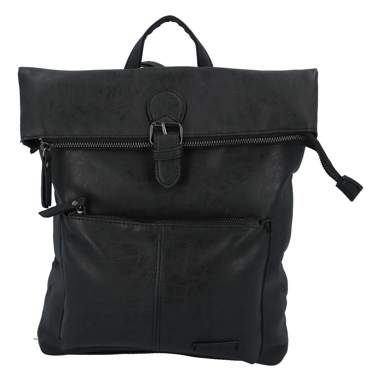 Stylový střední batoh černý - Enrico Benetti Amsterdam černá