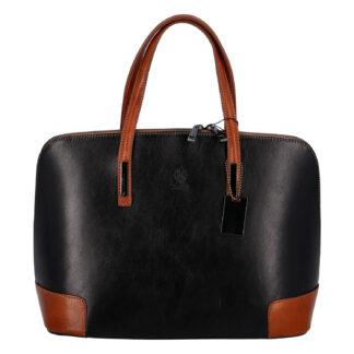 Dámská kožená kabelka černo koňaková - ItalY Angezis černá