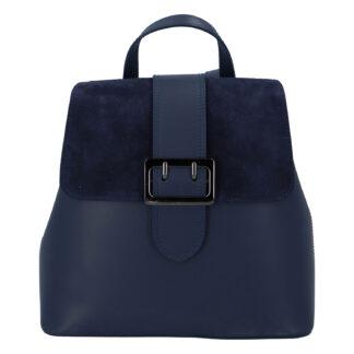 Dámský kožený tmavě modrý batoh - ItalY Parid tmavě modrá