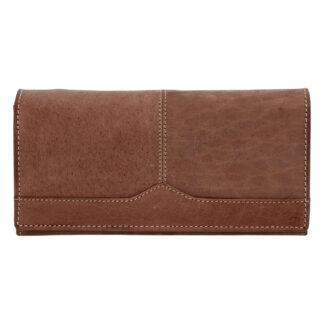 Dámská kožená peněženka hnědá broušená - Tomas Slat hnědá