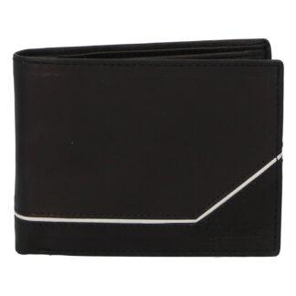 Pánská kožená peněženka černá - Delami Seum černo/bílá