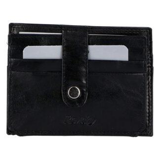 Kožená peněženka na kreditní karty černá - Rovicky N1367 černá