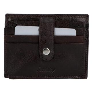Kožená peněženka na kreditní karty tmavě hnědá - Rovicky N1367 hnědá