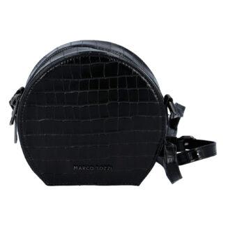 Módní stylová crossbody kabelka černá kroko - Marco Tozzi Kroko černá