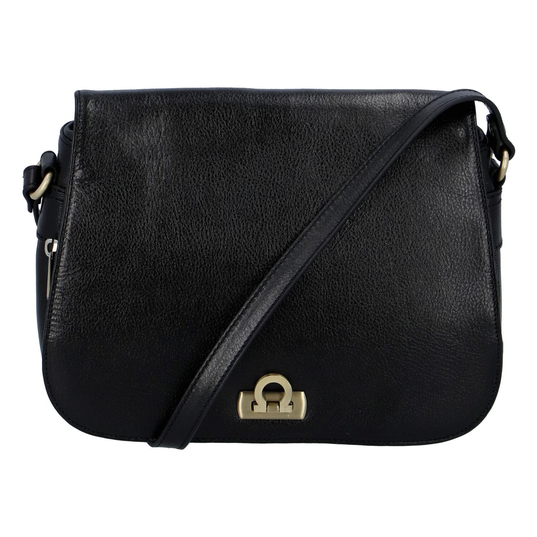 Luxusní dámská kožená kabelka černá - Hexagona Francesca černá