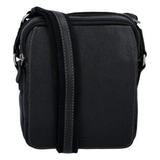 Luxusní pánská kožená taška přes rameno černá - Hexagona Yasser černá