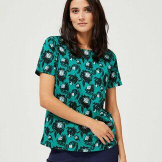 Moodo petrolejové tričko s květinovým motivem