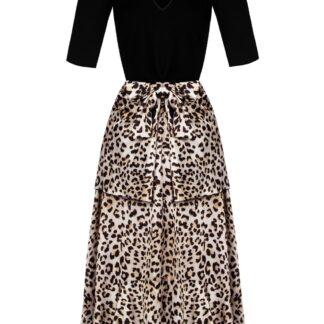 Rinascimento černé maxi šaty s leopardím vzorem