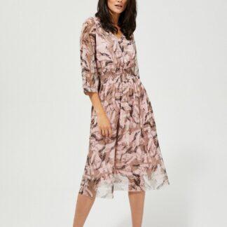 Moodo pudrové šaty s transparentními rukávy