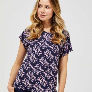 Moodo modré tričko s květinovým motivem