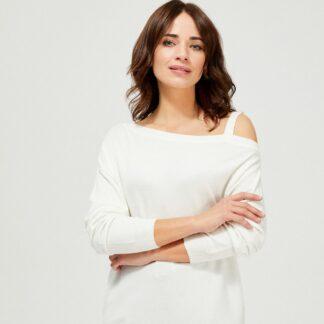 Moodo bílý svetr s odhaleným ramenem