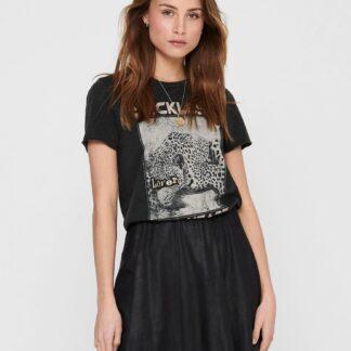 Only černé dámské tričko Lucy s potiskem
