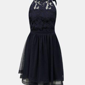 Vila tmavě modré šaty s krajkou Zinna