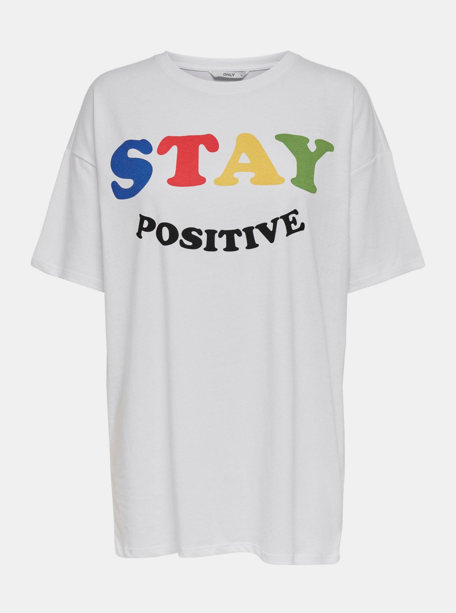 Only bílé dámské tričko Happy s potiskem