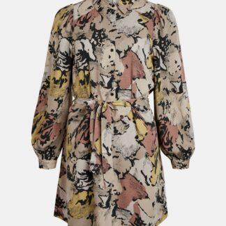 .OBJECT béžové volné šaty se vzory