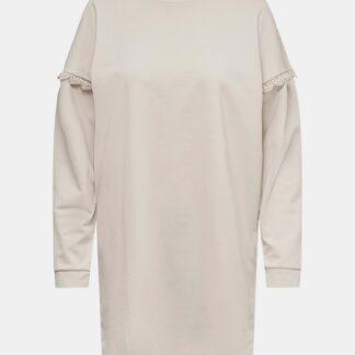 Jacqueline de Yong krémové mikinové šaty Rikke