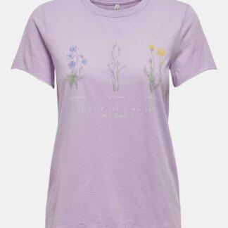 Only světle fialové dámské tričko Lucy s potiskem