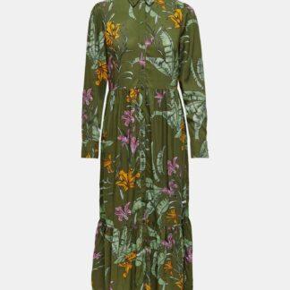 Only zelené maxi květované košilové šaty Palm