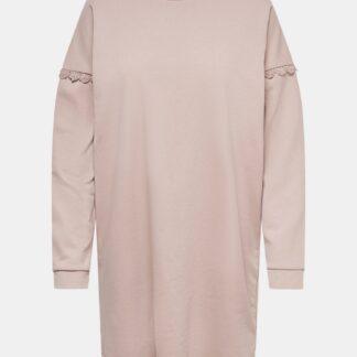 Jacqueline de Yong světle růžové mikinové šaty Rikke