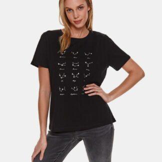 TOP SECRET černé dámské tričko s potiskem