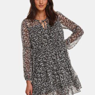 TOP SECRET černo-šedé květované šaty