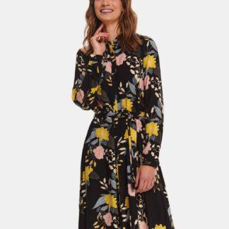 TOP SECRET černé květované košilové šaty
