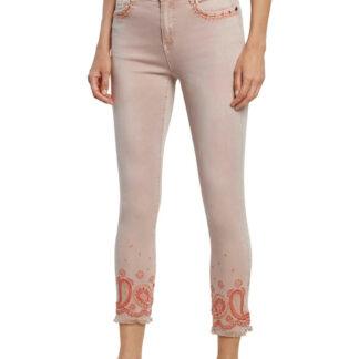 Desigual pudrové kalhoty Pant Ankle Paisley