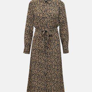 Jacqueline de Yong hnědé košilové midi šaty Piper