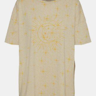 Noisy May béžové tričko Ida s potiskem