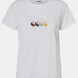Noisy May bílé tričko Nate s potiskem